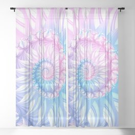 Striped Pastel Spiral in Pink, Blue and Purple Sheer Curtain