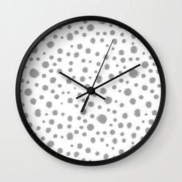 Grey spots dots minimal modern abstract painting Wall Clock