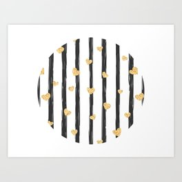 Black Stripes With Gold Hearts Art Print