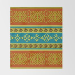 Mexican /Tribal Style pattern -Orange and Blue Throw Blanket