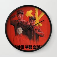 korea Wall Clocks featuring Military in North Korea by kaliwallace