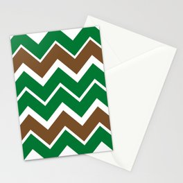 Big Chevron:  Kelly Green + Chocolate Brown Stationery Cards