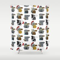 heavy metal Shower Curtains featuring Heavy Metal by nobleplatypus