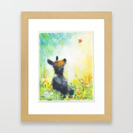 Bear with Butterfly Framed Art Print