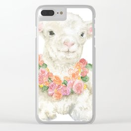 Baby Lamb Floral Watercolor Farm Animal Clear iPhone Case
