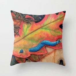 Blue-Grey Taildropper Slug on the Move Throw Pillow