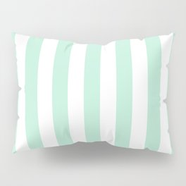 Mint green and White stripes-vertical Pillow Sham