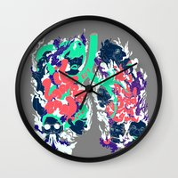 lungs Wall Clocks featuring Lungs by LAM Hamilton