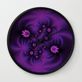 Berry Colored Fractal Flowers Wall Clock