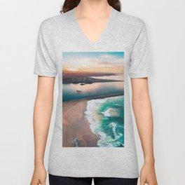 Sky view for the beach in the sunset Unisex V-Neck