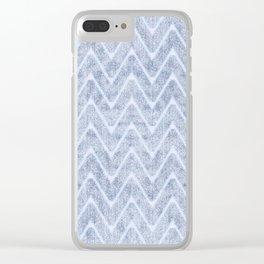 Pale Foamy Blue Chevron Faux Toweling Clear iPhone Case
