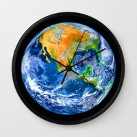 earth Wall Clocks featuring Earth by Marble Trouble