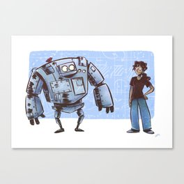 A Girl and her Robot Canvas Print