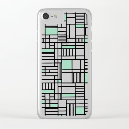 Map Lines Mint Clear iPhone Case