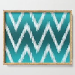 Ombre Teal Blue Turquoise Ikat Chevron Zigzag Pattern Serving Tray
