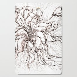 Brown line art hand-drawn crocus Cutting Board