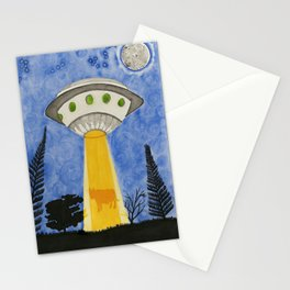 Cow being abducted by UFO Stationery Cards