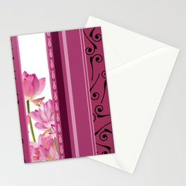 Vertical Stripes Flower pattern pink Stationery Cards