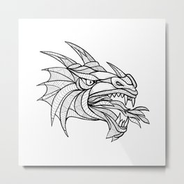 Dragon Head Zentagle Metal Print