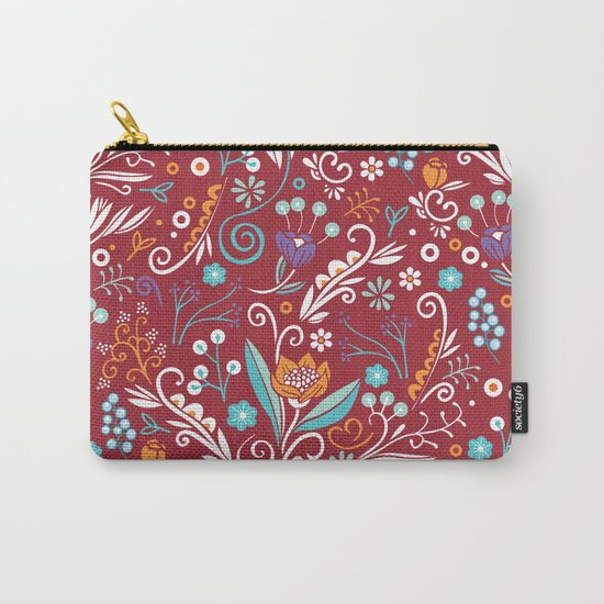 Flower circle pattern, red Carry-All Pouch