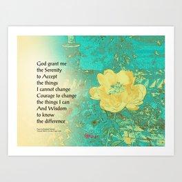 Serenity Prayer Peony Yellow Turquoise Art Print