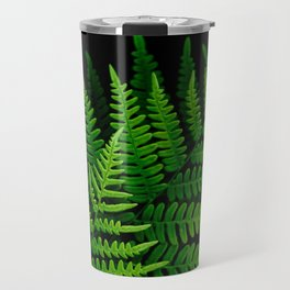 Fern Fronds on Black Travel Mug