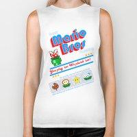 mario bros Biker Tanks featuring Super Mario Bros Plumbing by brit eddy
