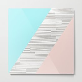 Abstract gray wood coral aqua color block Metal Print