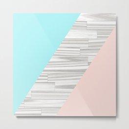 Abstract gray wood coral aqua color block Metal Print