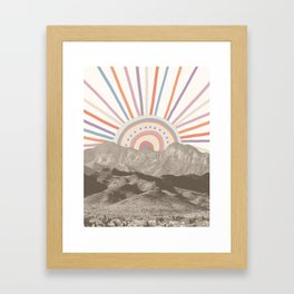 Summerlin Mountain Up // Abstract Vintage Mountains Summer Sun Surf Beach Vibe Drawing Happy Wall Ha Framed Art Print