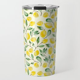 Watercolor Lemon Pattern Travel Mug