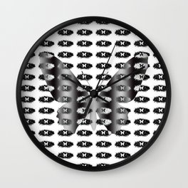 Butterflies pattern in black and white Wall Clock
