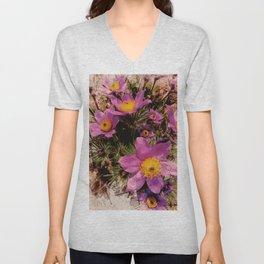 pasque-flower watercolor Unisex V-Neck