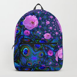 DECORATIVE HUNDRED  PINK ROSES & BLUE  ABSTRACT Backpack