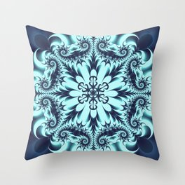 The Blue Snowflake I Throw Pillow