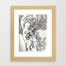 Thunder in the Sky Unicorn Pegasus Stallion Fine Art  Framed Art Print