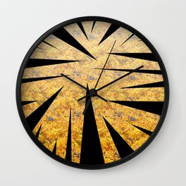 Abstract shapes in black color with yellow floral background Wall Clock