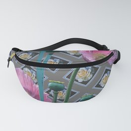 PINK GARDEN POPPIES ON GREY FLORAL PATTERN Fanny Pack