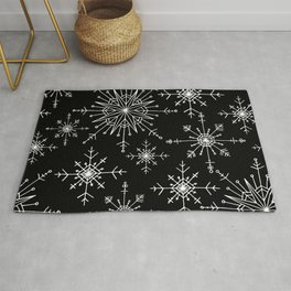 Winter Wonderland Snowflakes Black and White Rug