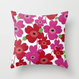 Graphic flowers:Royal red Throw Pillow