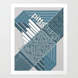 Pittsburgh Neighborhoods, rev. 2 steel-blue hues Art Print