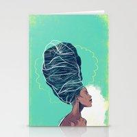 erykah badu Stationery Cards featuring Erykah Badu by Dushan Milic
