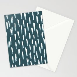 watercolor stripes-peacock blue Stationery Cards