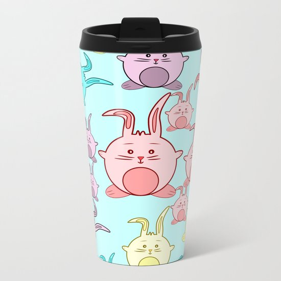 Colorful Easter bunnies Metal Travel Mug