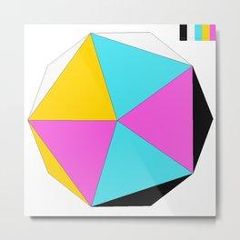 Icosahedron CMYK Metal Print
