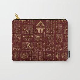 Egyptian hieroglyphs and symbols gold on red leather Carry-All Pouch