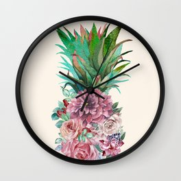 Floral Pineapple Wall Clock