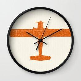 Vintage Orange Airplane Art Print Wall Clock