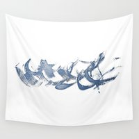 calligraphy Wall Tapestries featuring Calligraphy by MargherittaVi