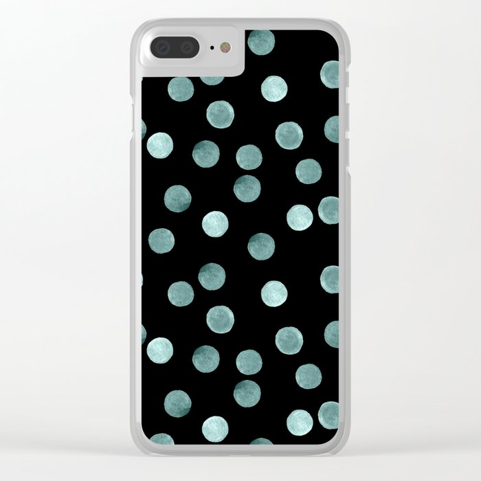 Blue polka dots on a black background . Watercolor pattern . Clear iPhone Case